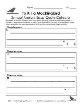 To Kill a Mockingbird Symbol Analysis Essay with ESL support