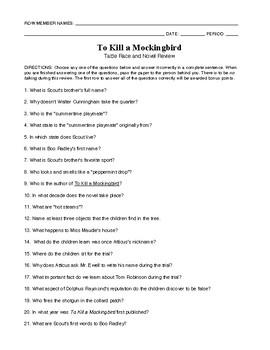 To Kill a Mockingbird Table Race and Novel Review