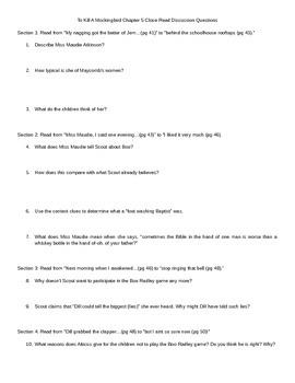 To Kill a Mockingbird Task Card Differentiated Close Read (EDITABLE)