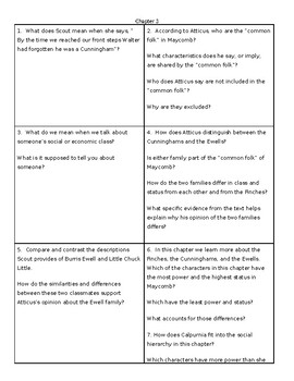 To Kill a Mockingbird: Task Cards for Chapters 1-7 (analysis questions)