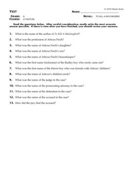 To Kill a Mockingbird Test Questions
