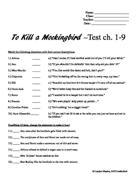 To Kill a Mockingbird Test ch. 1-9 & Answer Key