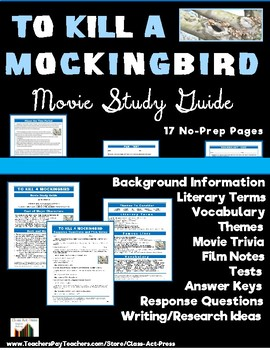 To Kill a Mockingbird: Study Guide for the Film (17 Pg., Ans. Keys Inc.)