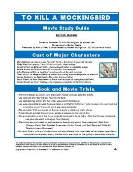To Kill a Mockingbird: Study Guide for the Film