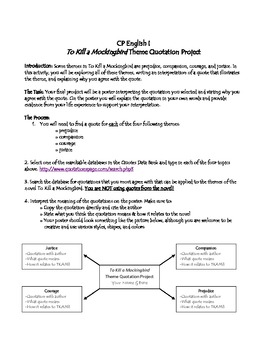 To Kill a Mockingbird- Theme Quotation Project