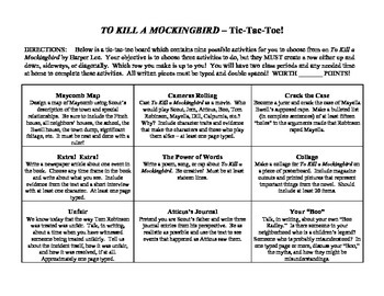 """To Kill a Mockingbird"" Tic-Tac-Toe Project"
