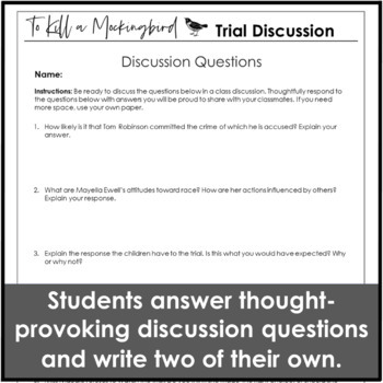 kill a mockingbird trial questions and socratic seminar discussion  to kill a mockingbird trial questions and socratic seminar discussion activity