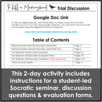 To Kill a Mockingbird Trial Questions and Socratic Seminar Discussion Activity