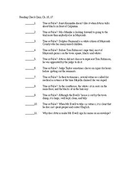 To Kill a Mockingbird True/False Reading Check Quiz - Chapters 16-17