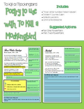 To Kill a Mockingbird Extension Activities: Connecting Poetry