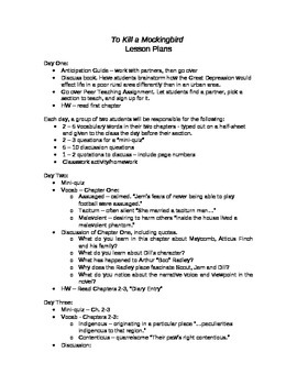 To Kill a Mockingbird Unit Lesson Plans