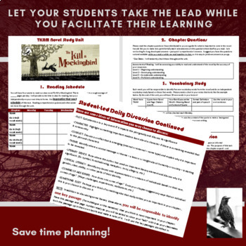 *NEW* To Kill a Mockingbird Novel Unit Plan: Student-Led Reading & Analysis