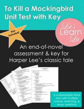 To Kill a Mockingbird Unit Test with Key
