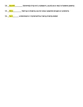 To Kill a Mockingbird Vocabulary Quiz - Chapters 21 - 31