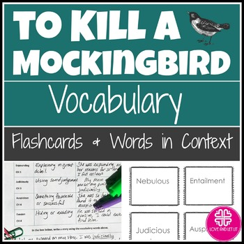 To Kill a Mockingbird Vocabulary Flashcards & Words in Context Activity