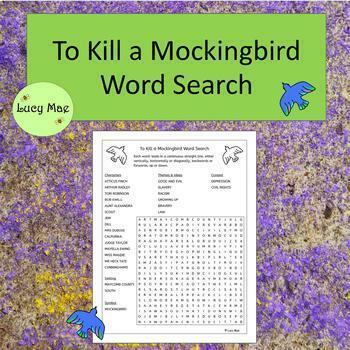 To Kill a Mockingbird Word Search - No Prep - black and white