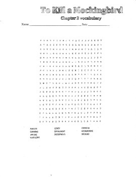 To Kill a Mockingbird Wordsearches (ch 1-2)