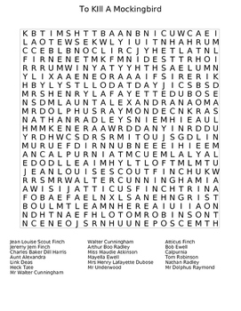 To Kill a Mockingbird Wordsearch Puzzle