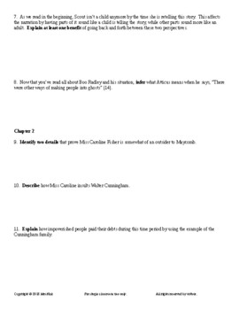 To Kill a Mockingbird by Harper Lee Guided Reading Worksheets