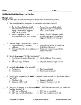 To Kill a Mockingbird by Harper Lee Unit Test