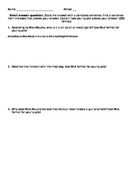 To Kill a Mockingbird ch 1-10