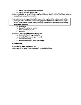 To Kill a Mockingbird quiz Chapters 1-5 (upper level, advanced)