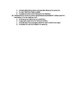 To Kill a Mockingbird quiz Chapters 6-11 (upper level, advanced)