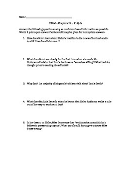 To Kill a Mockingbird quiz - chapters 25-31