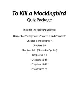 To Kill a Mockingbird quiz package