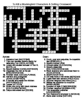 To Kill a Mockingbird:Crossword Puzzle, Word Search and KEYS
