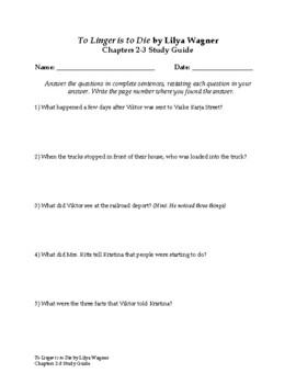 To Linger is to Die by Lilya Wagner Comprehension Worksheets