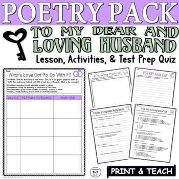 To My Dear and Loving Husband Bradstreet:Poetry Test Prep Lesson Quiz Activities