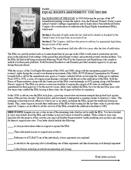 To Ratify the Equal Rights Amendment or Not? A Structured Academic Controversy