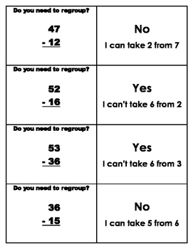 To Regroup or Not (2-digit subtraction & addition) Flashcards AND  worksheets