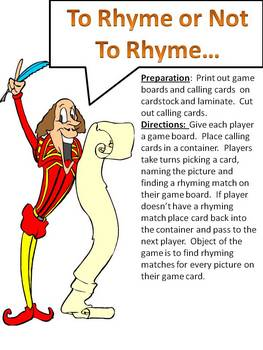 To Ryme or Not To Rhyme - a rhyming board game