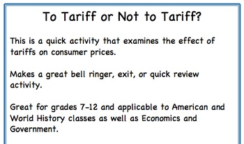 To Tariff or Not to Tariff