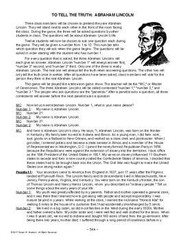 To Tell The Truth: Abraham Lincoln, AMERICAN HISTORY LESSON 54 of 100, Game+Quiz