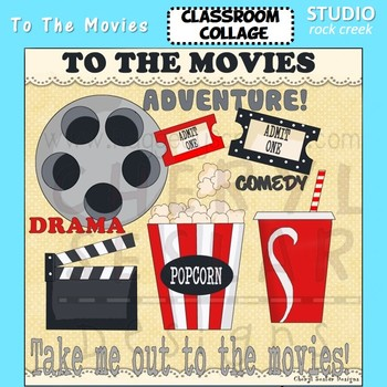 To The Movies color clip art popcorn movie reel ticket soda cup drama C Seslar