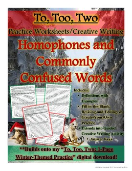 To, Too, Two: Holiday-Themed 3-Page Practice Worksheets and Creative Writing