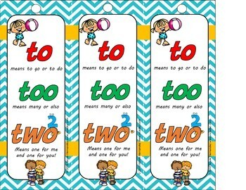 To, Too, Two Homophones Anchor Chart and Bookmarks