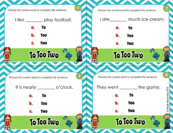 To, Too, Two Homophones TASK CARDS