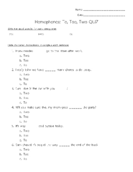 To Too Two Quiz