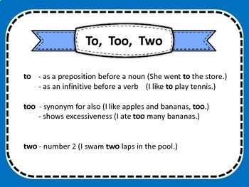 Homophones {To, Too, Two}