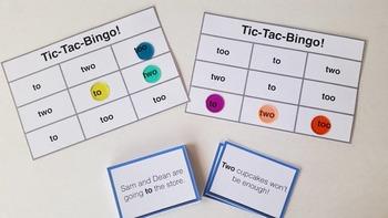 To/ Too/ Two Tic-Tac-Bingo Language Arts Game