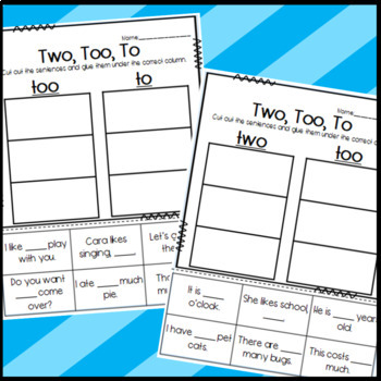 To, Too, and Two Homophone Worksheets