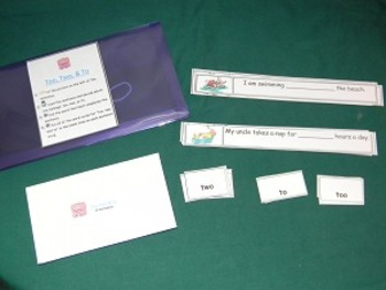 To, Two, & Too Sentences Literacy Center Classroom game- H