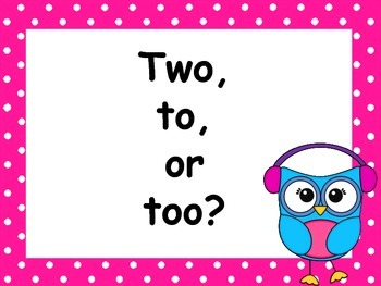 To, Two, Too Task Cards