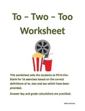 To - Two - Too Worksheet for Grades 6-9