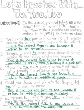 To, Two, and Too-Grammar CLOZE Notes and Practice (Great for ESL!)