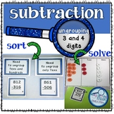 Subtraction 3 and 4 digit with Ungrouping Bundle